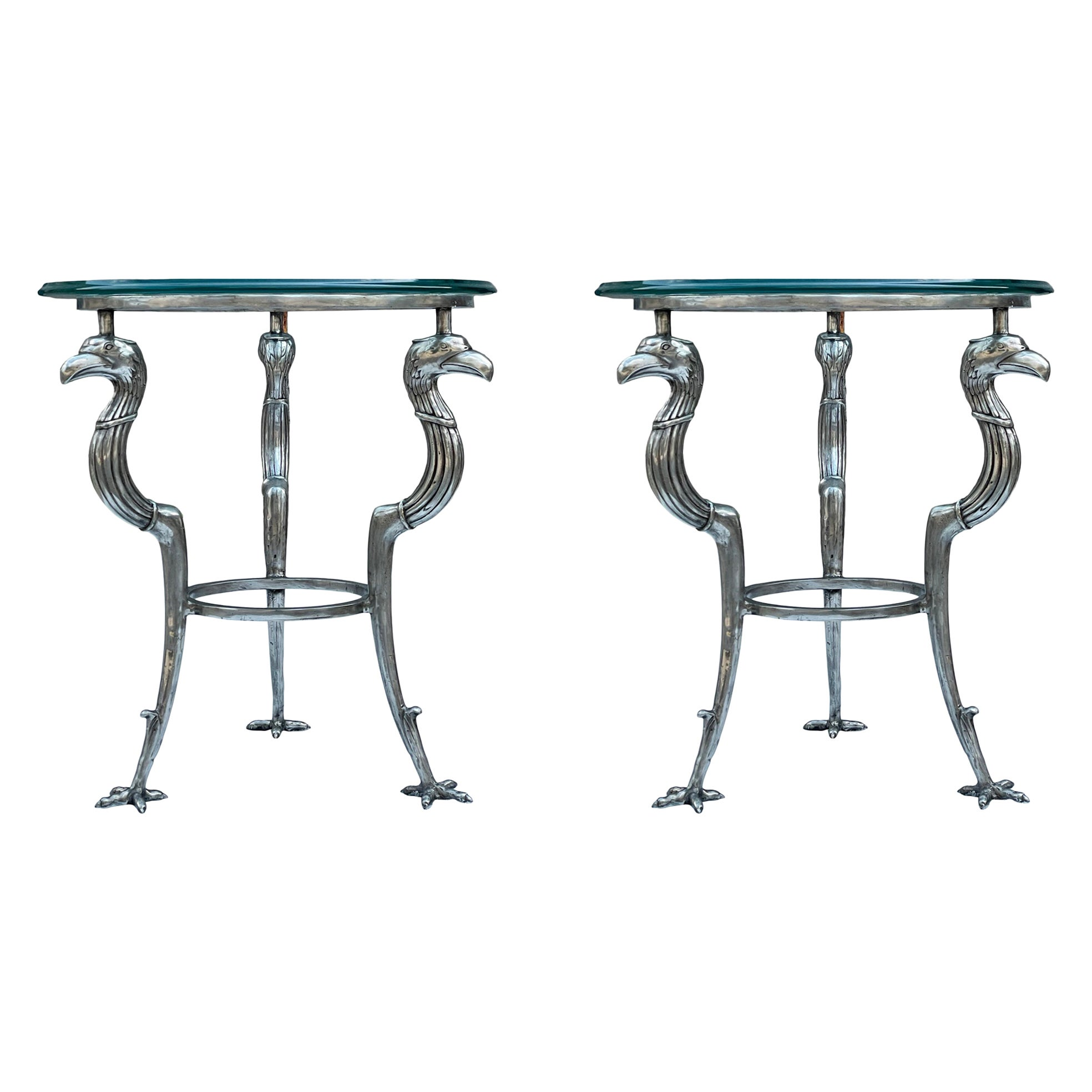 Matching Pair of Hollywood Regency Glass & Brass End Tables by Maitland Smith