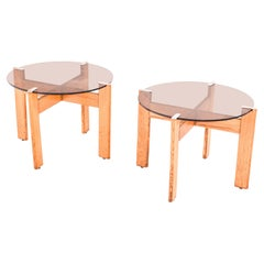 Pair of Portuguese Side Tables in Oak, 1980s