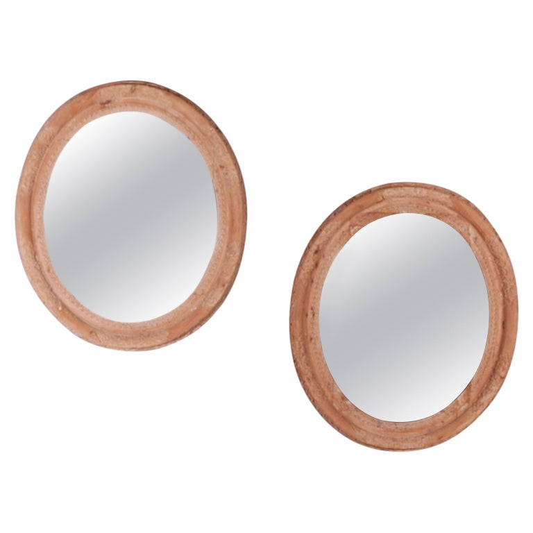 Pair of Pine Oval Mirrors