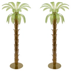 Pair of Murano Glass and Brass Palm Tree Floor Lamp, 1970s