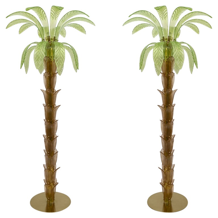 Pair of Murano Glass and Brass Palm Tree Floor Lamp, 1970s For Sale