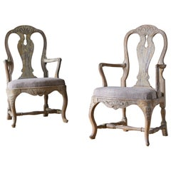 18th Century Swedish Rococo Armchairs