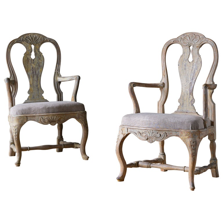 18th Century Swedish Rococo Armchairs For Sale