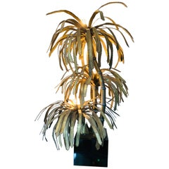1970s French Maison Jansen Brass 3 Branch Palm Tree Table or Floor Lamp