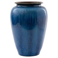 Bourne Denby English Blue Glaze Pottery Vase