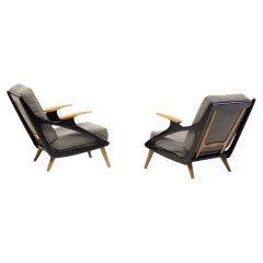 Belgian Architectural Lounge Chairs, circa 1950