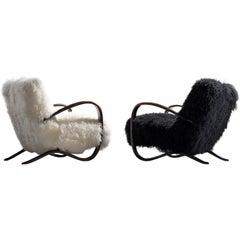 Jindřich Halabala Customizable Lounge Chairs in Tibetan Wool