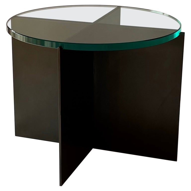 Contemporary Minimalist Blackened Steel and Glass Side Table by Scott Gordon For Sale