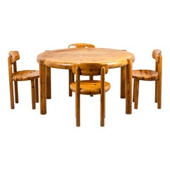 Rainer Daumiller, Dining Table and Set of Four Pine Chairs, 1960's