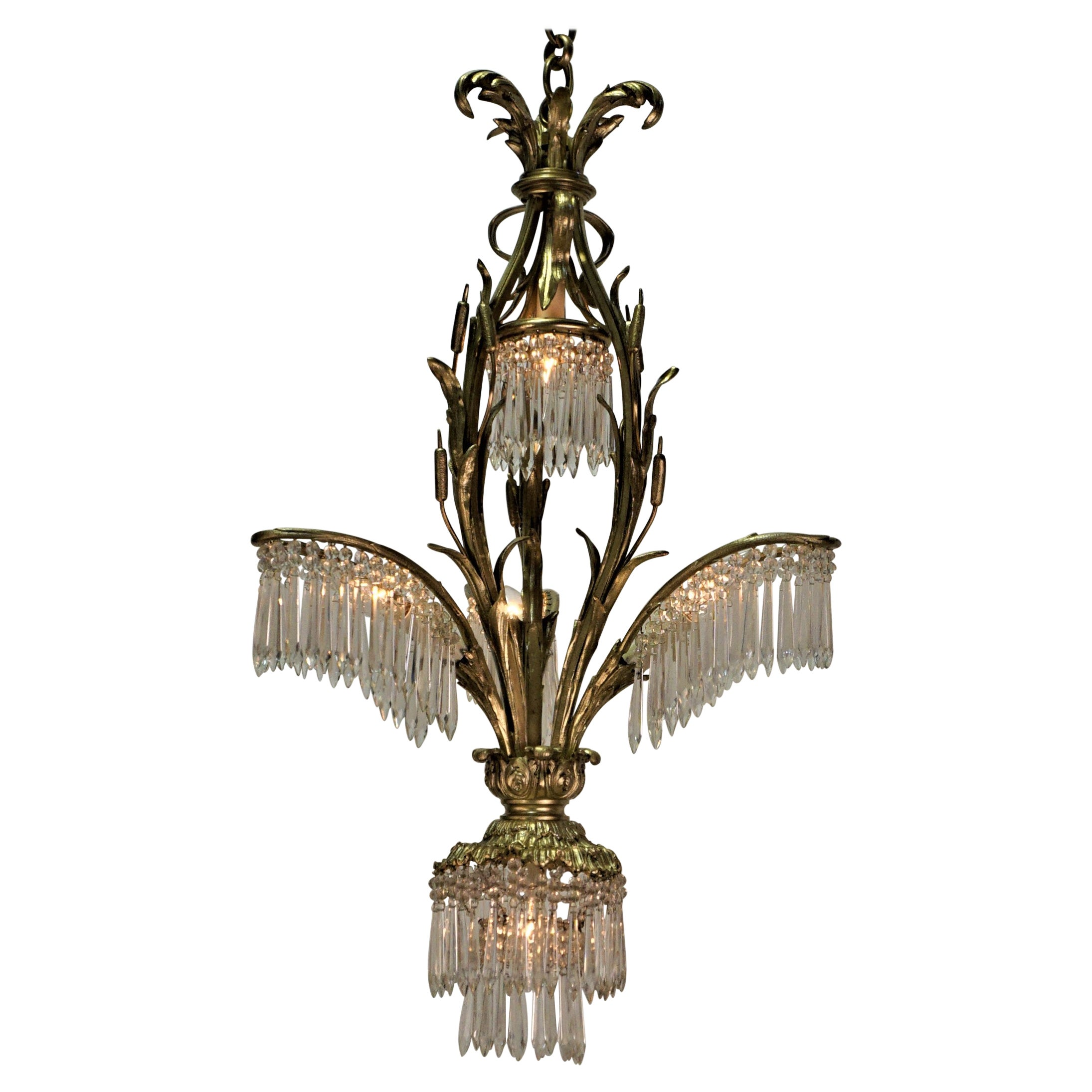 Palm Tree Bronze and Crystal Chandelier