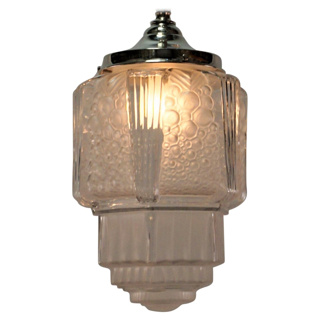 French Art Deco Pendant Chandelier by Muller Freres