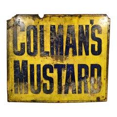 Original 1930s Large English Colman's Mustard Enamel Advertising Sign Vintage