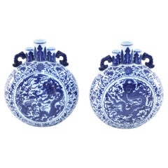 Pair of Chinese Blue and White Porcelain Moon Flask Vases