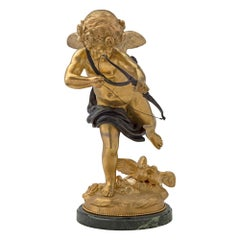 French 19th Century Ormolu, Patinated Bronze and Marble Statue, Signed Houdon