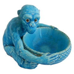 Art Deco Monkey Bowl, Blue c1930