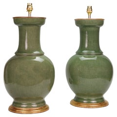 Pair of 20th Century Chinese Porcelain Celadon Green Table Lamps