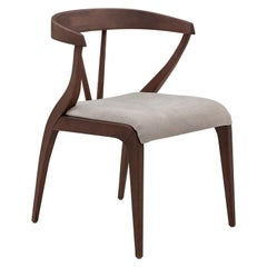 Shaped Mat Dining Chair in Walnut with Open Back and Light Gray Fabric