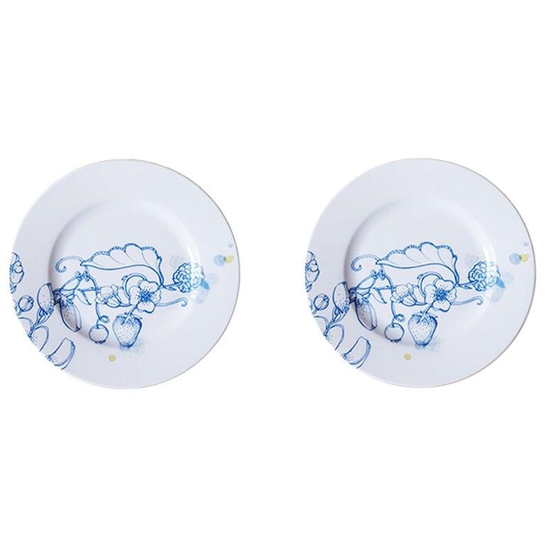 Blue Summer, Contemporary Porcelain Bread Plates Set with Blue Floral Design For Sale