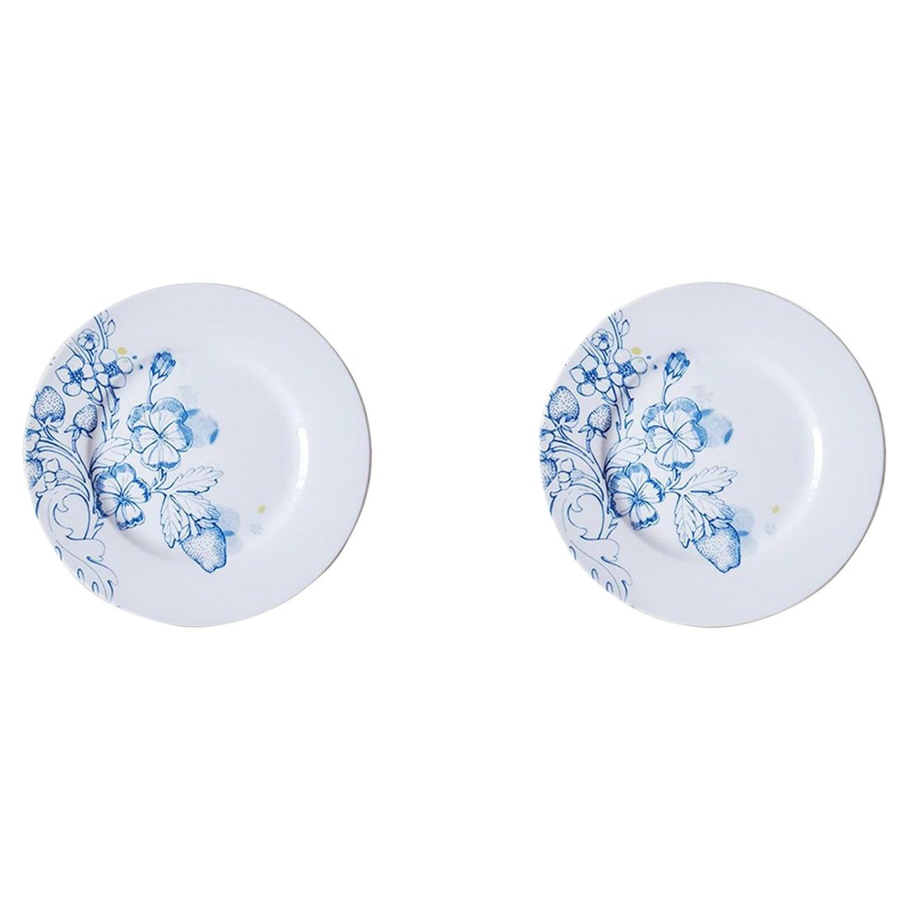 Blue Summer, Contemporary Porcelain Dessert Plates Set with Blue Floral Design