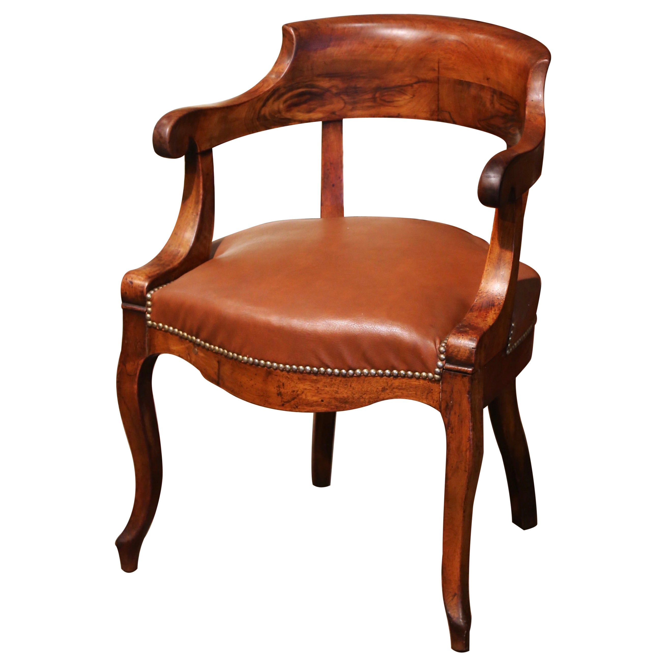 19th Century French Directoire Carved Walnut Desk Armchair with Beige Leather