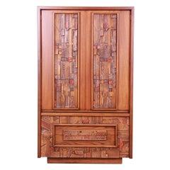 Paul Evans Style Lane Pueblo Brutalist Mid-Century Modern Oak Armoire Dresser