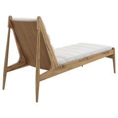 Wave Chaise in Teak Finish and Light Fabric