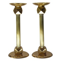 Set of Brass Art Deco Candlesticks by Larry Laslo