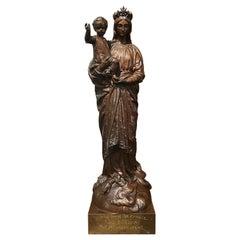 "19th Century Patinated Bronze Statue of ""Notre Dame de France"" Holding Jesus"