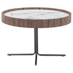 """Regia Occasional Table in Walnut Featuring Carrara Glass, 26""""dia"""