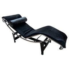 Le Corbusier Lounge Armchair LC4, Cassina Edition, Black Pony