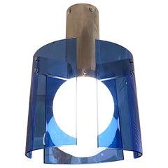 Veca of Italy 1970s Chrome & Blue Glass Panel Pendant or Ceiling Mount Light