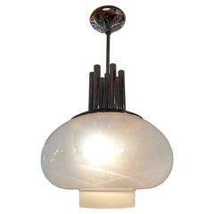 Italian Large 1970s Chrome & Blown Glass Shade Pendant Light