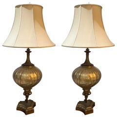 Pair of Vintage Lamps in Copper and Ceramic with Shades