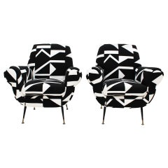 Gigi Radice for Minotti Mid-Century Modern Pair of Italian Armchairs, 1950s