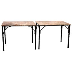 Pair of Addison Mizner Wrought Iron Console Tables