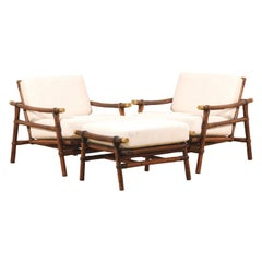 Four Superb Restored Loungers by John Wisner for Ficks Reed, circa 1954