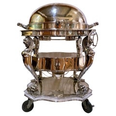 Estate English Regency Style Silver-Plate Meat Carving Trolley, Fully Outfitted