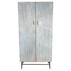 Distressed Patina Two Door Reeded Cabinet