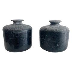 Mid 20th Century Seguso Black Scavo Glass Murano Vases Sculptures Signed