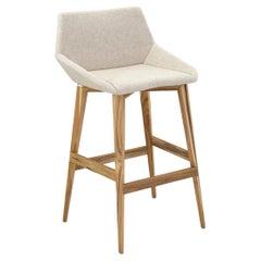 Geometric Cubi Counter Stool Teak Base and Oatmeal Fabric Seat