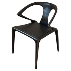 Roche Bobois Ava Armchair in Ebonized Oak & Leather Seat
