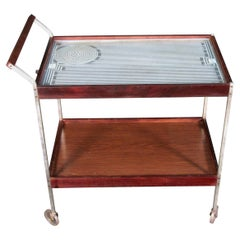Mid-Century Modern Two-Tier Hot Tray Buffet Cart