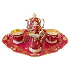 French Porcelain Tete a Tete Tea Set Circa 1875