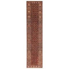 Tribal Antique Caucasian Shirvan Runner Rug. 3 ft 5 in x 14 ft 2 in