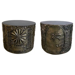 Pair of American Modern Drum Side Tables, Adrian Pearsall