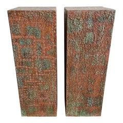 Pair of Bespoke Brutalist Distressed Copper Clad Patchwork Pedestals