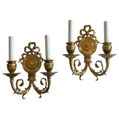 Wonderful Pair French Dore Bronze Bow Top Wall Sconces E.F. Caldwell