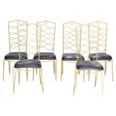 Rene Prou Art Deco Golden Wrought Iron Dining Room Chairs Black Vinyl Seats, 6