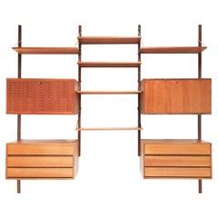 Poul Cadovius Teak Mid Century Wall Unit Shelving Bookcase Danish 1960s