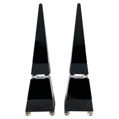 Pair Romano Dona Vintage Signed Murano Glass Obelisks